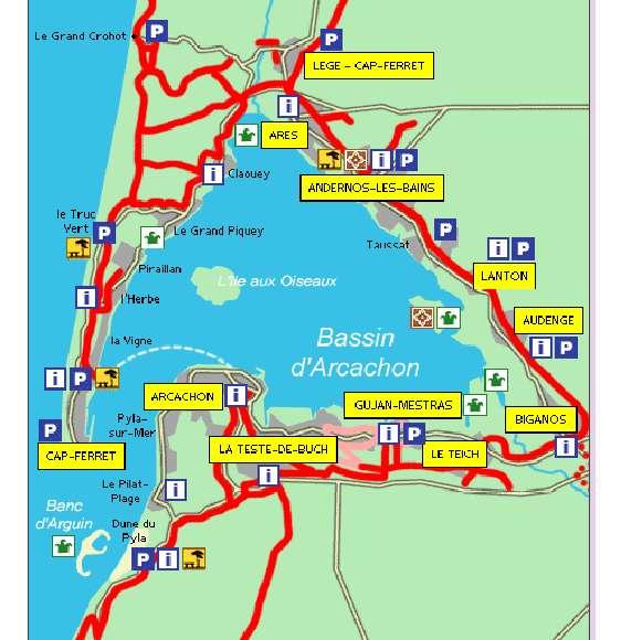 carte piste cyclable bassin d arcachon voyager en